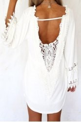 Casual White Lace Splicing Backless