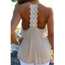 Charming Scoop Neck Lace Splicing Backless Loose Sexy Tank Top