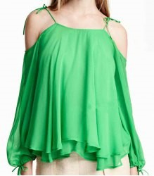 Sexy Spaghetti Strap Long Sleeve Green Hollow Out Chiffon Blouse