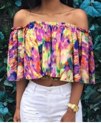Stylish Slash Collar Sleeve Printed Crop Top