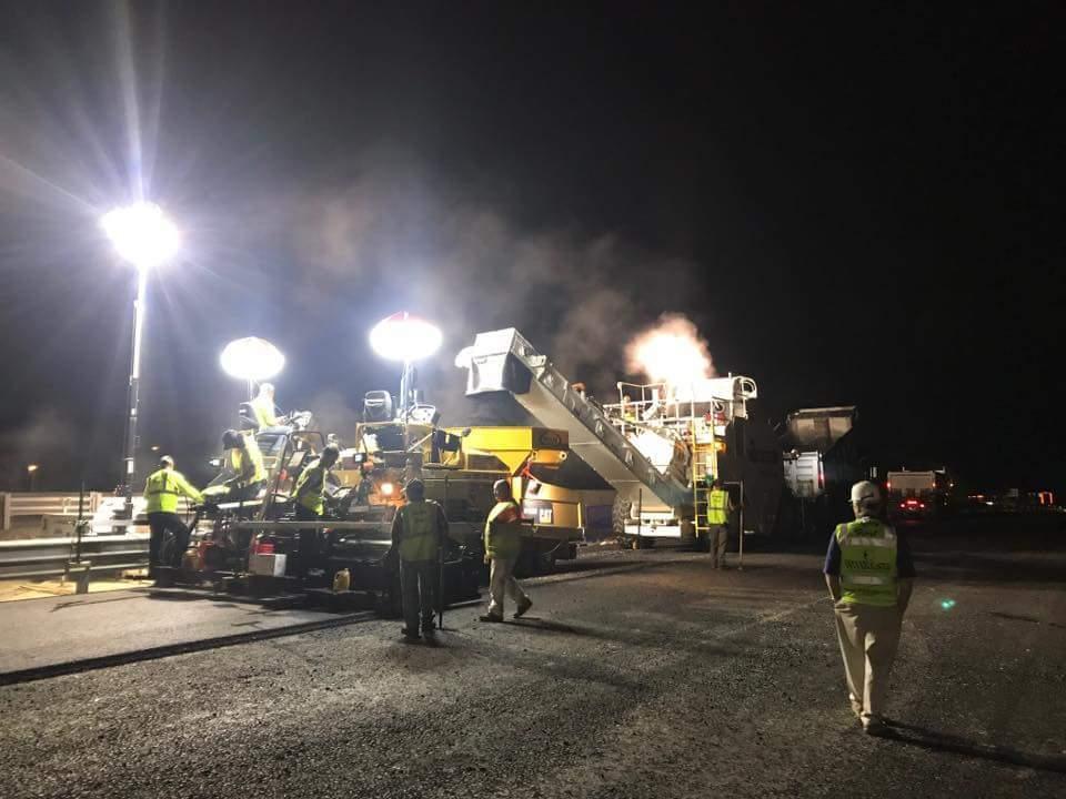 Night operations on Rt. 95 AP1055 & SB25000