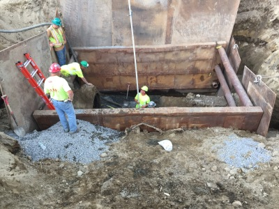 trench box used to secure trench as a pipe is laid