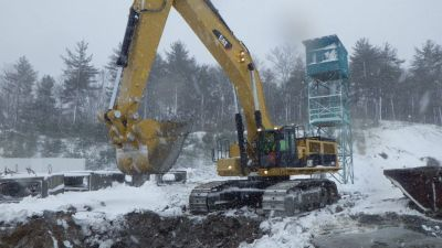 Cat 390 installing 4x6 Box Culvert accross Plainridge Race Track During a 3 Day Snow Storm For a track shutdown