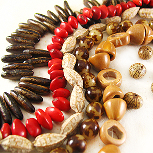 natural wooden and seed beads