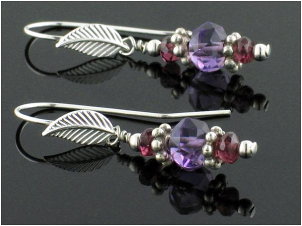 Tutorial for easy Amethyst and Garnet Dangle Earrings