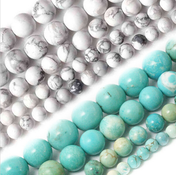 Natural White and Turquoise Howlite Beads