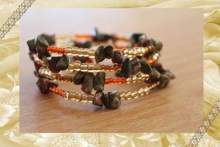 Semi-precious Unakite chip wire wrap bracelet