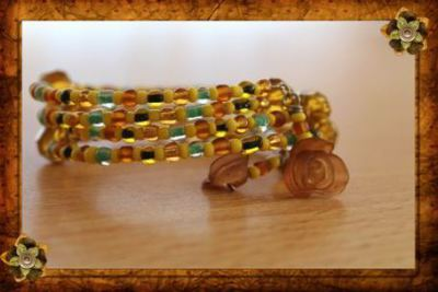 Miyuki Glass and Matt Seed Beads, in Brown, Turquoise, Yellow and Olive Green