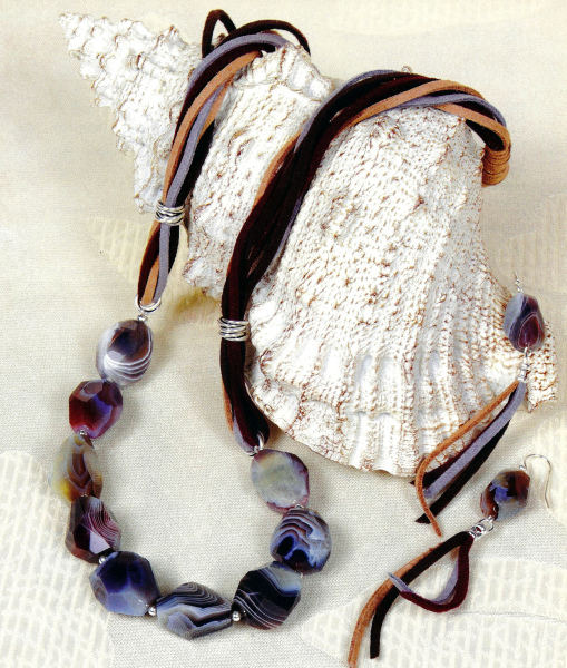 BOTSWANA BLISS FACETED AGATE CHUNKS NECKLACE AND EARRINGS - TUTORIAL