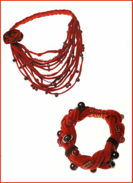 RED T-SHIRT FABRIC YARN NECKLACE AND BANGLE SET - TUTORIAL
