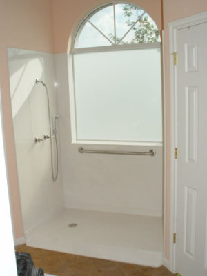roll in marble shower with window