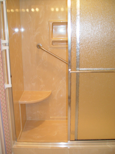 Safety Shower features with corner seat