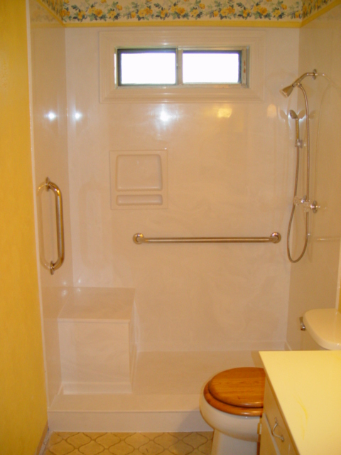 Small high window in shower