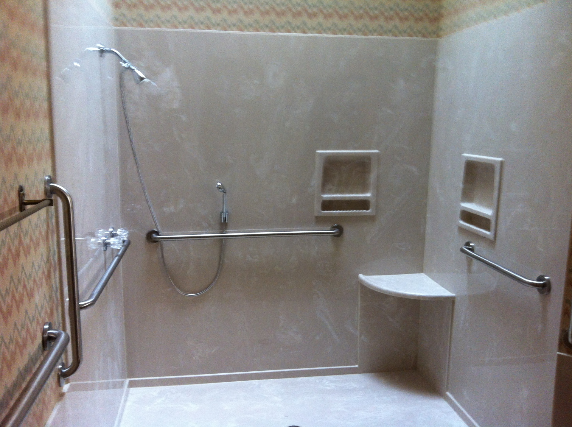 Wheel chair designed shower with all low reach