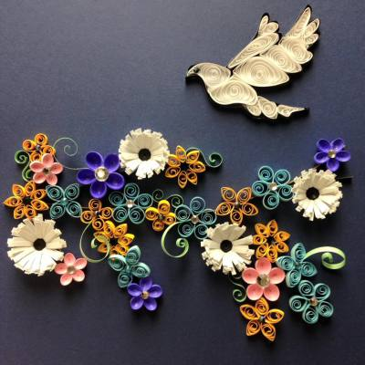 Quilled Flower with Dove