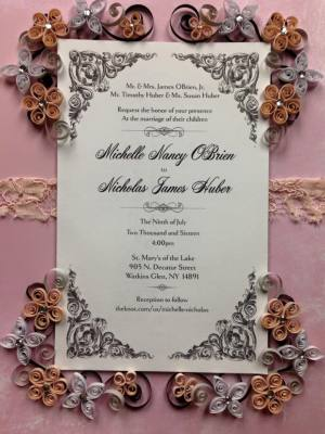 Quilled Keepsake Wedding Invitation