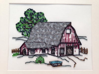 Quilled Red Barn