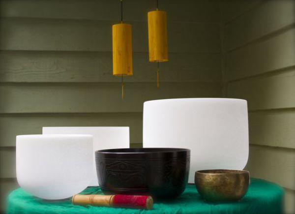 Crystal Singing Bowl, Tibetan Bowl, and Wind Chimes used at Shanti Living Wellness