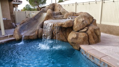 Rock Waterfall, Outdoor Kitchens, chula vista, patio covers chula vista, aluminum patio covers, outdoor entertainment areas,