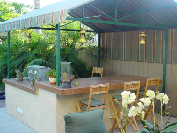 Custom Outdoor Kitchen, Canvas Awning, BBQ Island, patio cover
