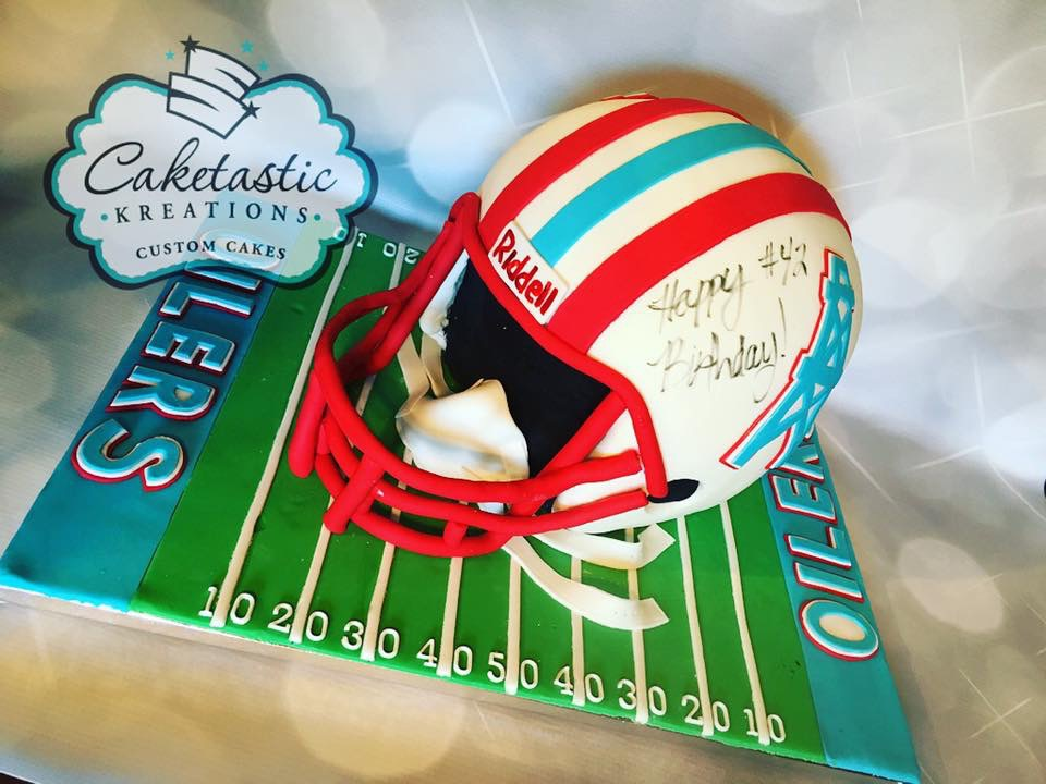 Houston Oilers Helmet Cake