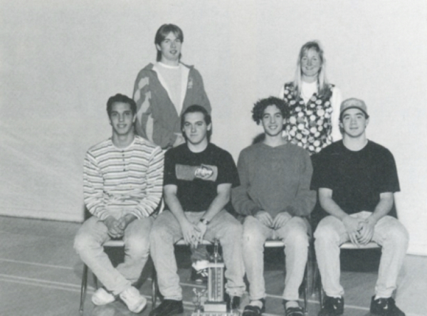 Belmont's 1996 gold medal winning relay team: Back row: Cliff Smirl and Michelle Choma (coach).  Fro