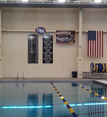 University of Mary Swim Team Record Boards