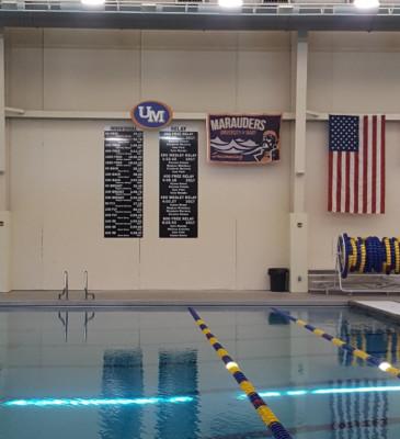 University of Mary Swim Team Record Boards