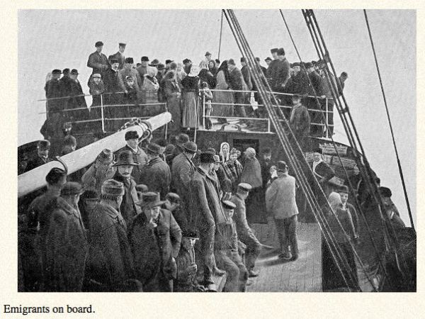 Immigrants on board a ship to England:BRITTA'S JOURNEY, annmariemershon.com
