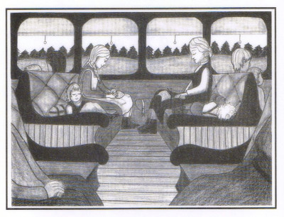 The Jacobson family on a Finnish train to Vaasa to catch a boat to England, illustration by Gail Alden Hedstrom: BRITTA'S JOURNEY, annmariemershon.com