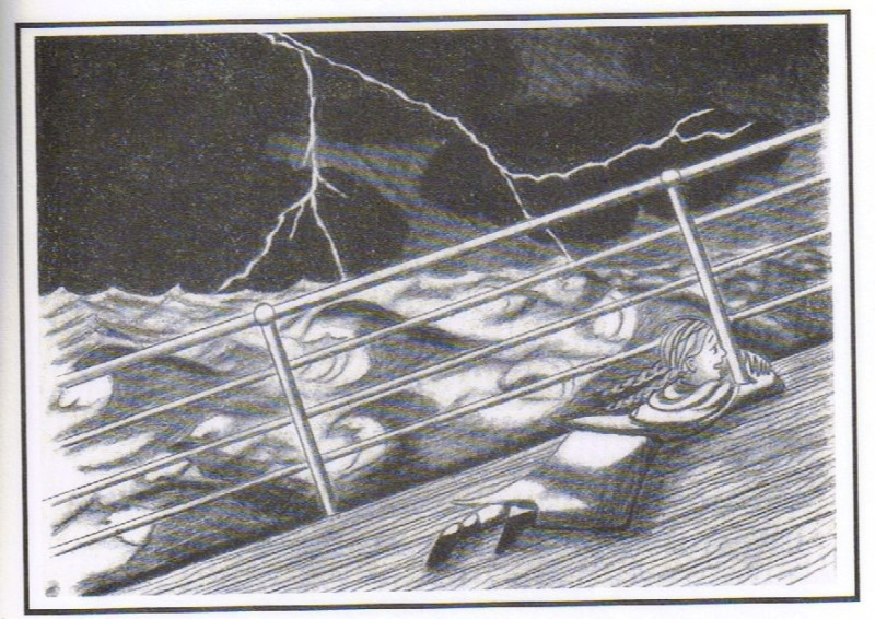 Britta was stranded on the deck during a storm. Illustration by Gail Alden Hedstrom: BRITTA'S JOURNEY, annmariemershon.com