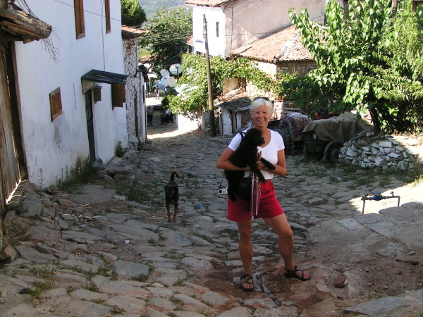 Libby and I revel in the magic of Şirince's stone streets. Turkey, annmariemershon.com