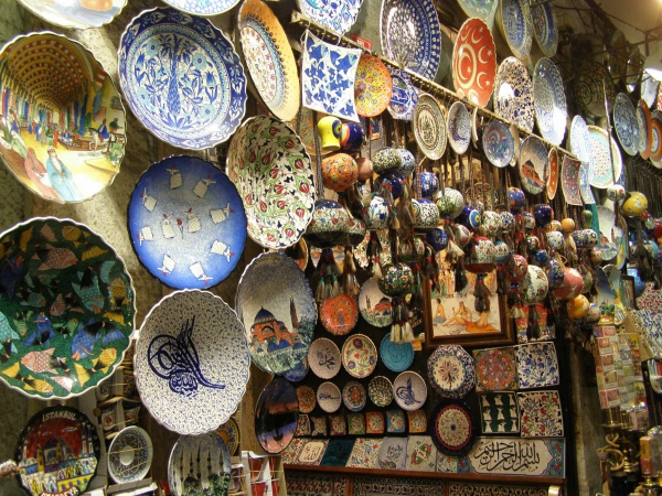 Colorful ceramics abound in the Grand Bazaar. Istanbul, Turkey: annmariemershon.com