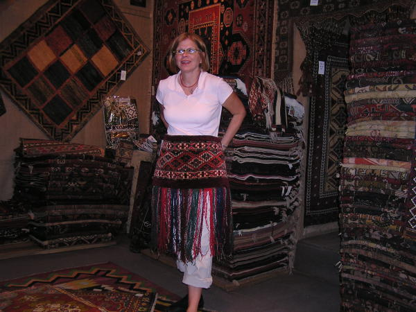 Polly models a tribal piece intended for a doorway. Istanbul, Turkey: annmariemershon.com