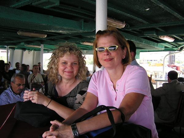 Terri and Polly stand on the crowded ferry to the Princes' Islands. Istanbul, Turkey: annmariemershon.com