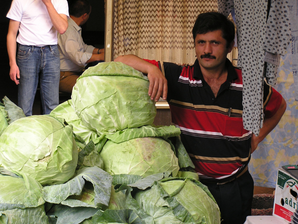 This gorgeous fellow is proud of his monster cabbages. Istanbul, Turkey: annmariemershon.com