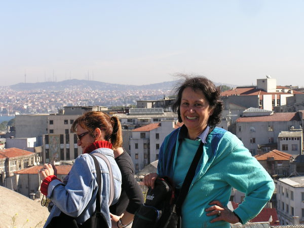 Edda impresses her tour participants with a trip to  the rooftop of the Valide Han for a spectacular view. Istanbul, Turkey: annmariemershon.com