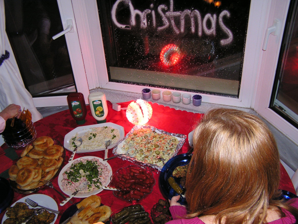Ayşe put out a delectable array of Christmas mezes  before dinner, our third stop. Istanbul, Turkey: annmariemershon.com