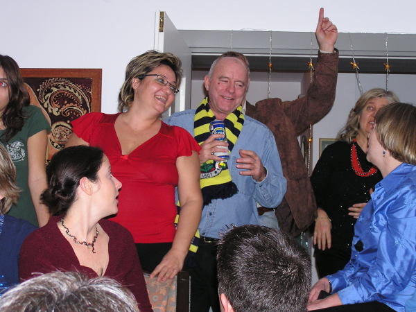 John dons his new Fenerbahçe scarf as the dancing begins. Istanbul, Turkey: annmariemershon.com