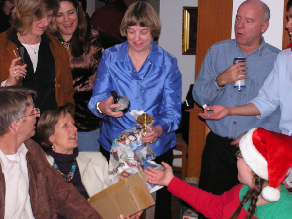 After dinner everyone gathered at Jale's home for a gift exchange and dancing. Marnie scored a nargile—a water pipe. Istanbul, Turkey: annmariemershon.com