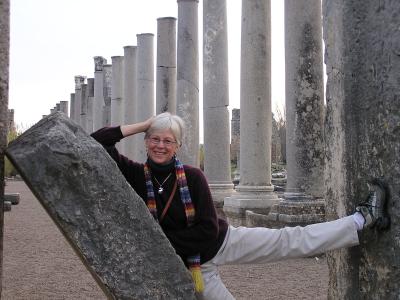 Ann Marie takes advantage of a slanted marble slab to pose at Perge, near Antalya, Turkey. annmariemershon.com
