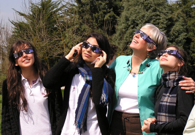 Koç High School students donned blackout glasses to view the solar eclipse in Istanbul, Turkey: annmariemershon.com
