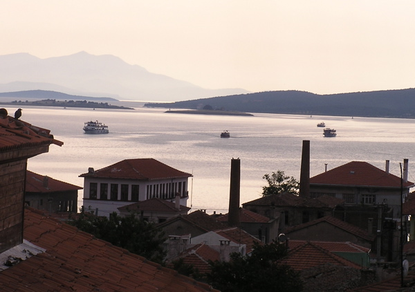 The view from our terrace overlooked the harbor and the  Greek island of Lesbos. Ayvalık, Turkey: chapter 35, You must only to love them. http://mershon.wordpress.com