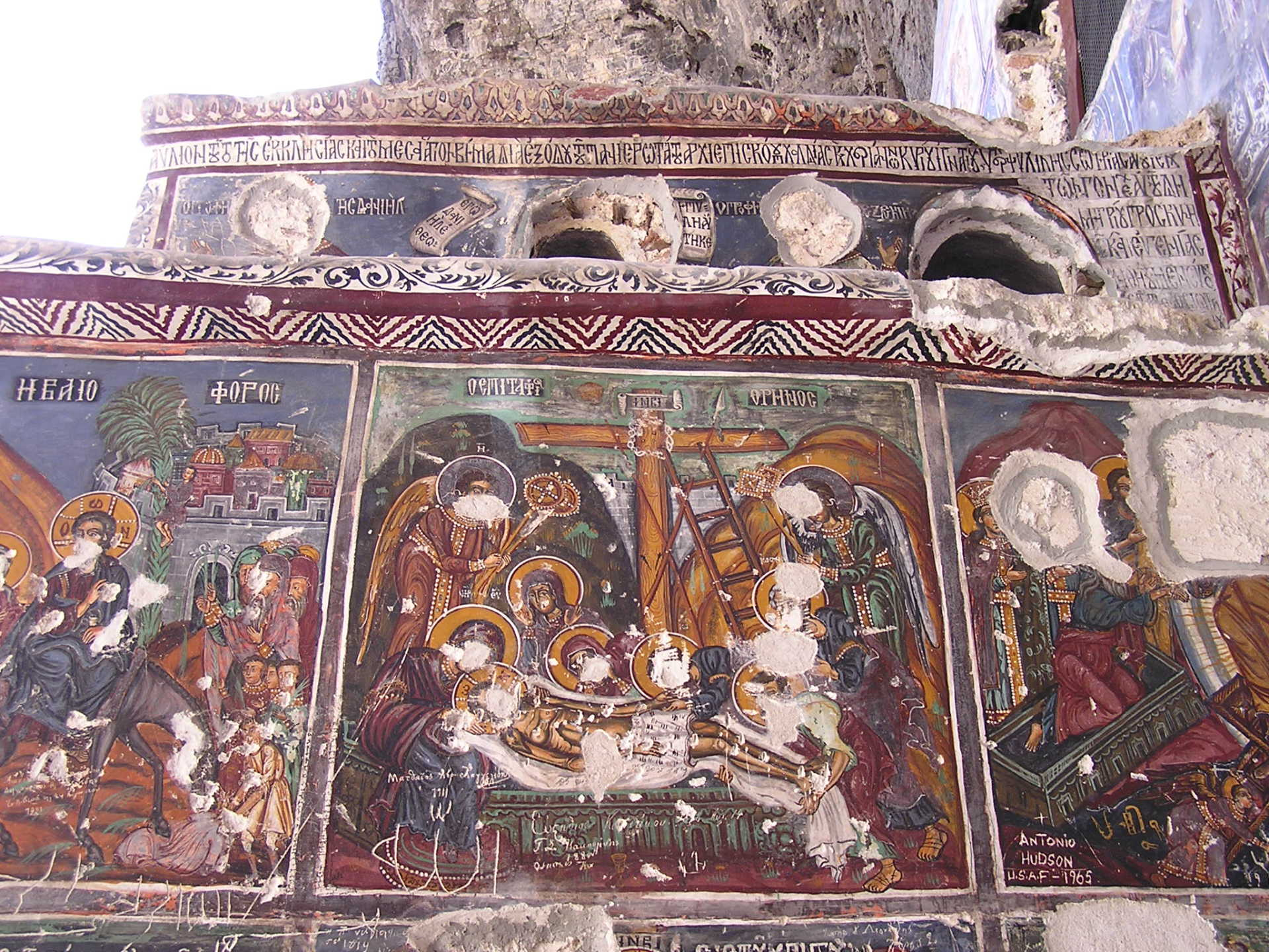Sadly, Sumela's religious frescoes have been defaced over the years. Trabzon, Turkey, chap 43, You must only to love them. http://mershon.wordpress.com