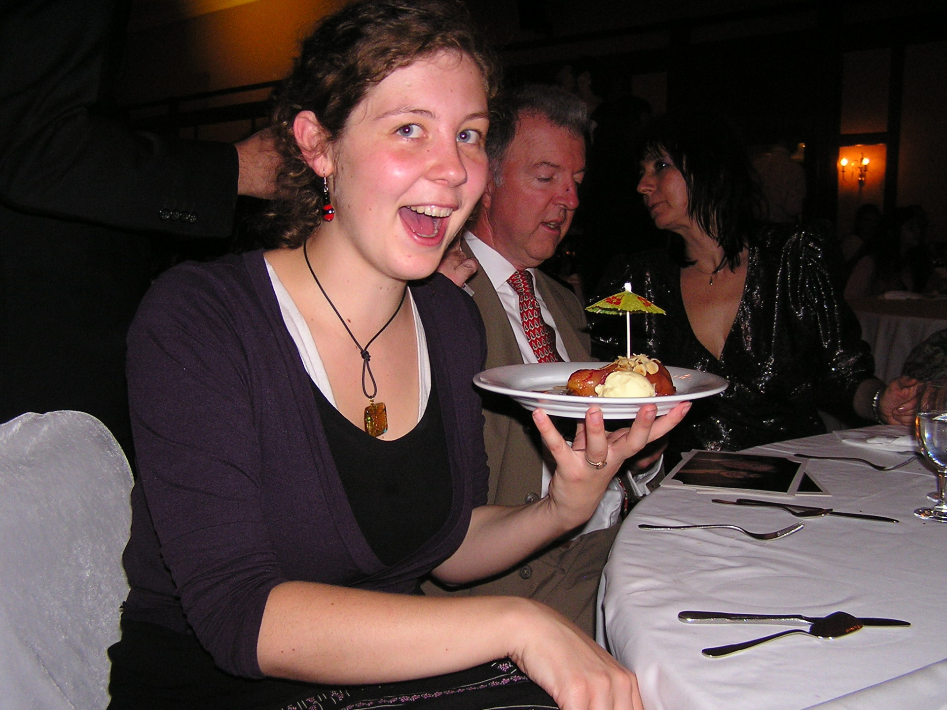 My niece Laura marvels at a dessert plate at the Teachers' Day Gala. Istanbul, Turkey: chapter 45, You must only to love them. http://mershon.wordpress.com