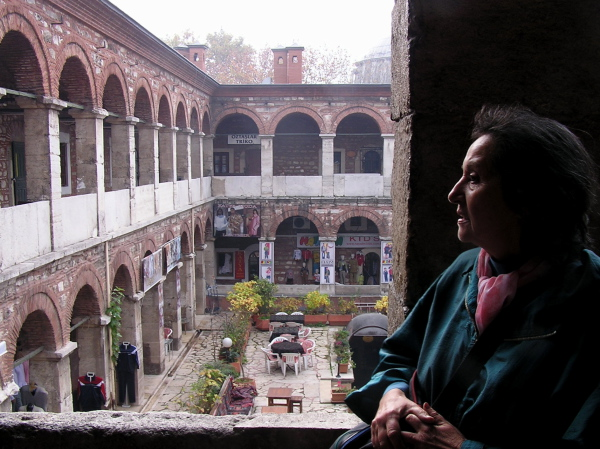 Edda explains the history of the refurbished Taş Han as we  overlook its open courtyard. Istanbul, Turkey: chapter 45, You must only to love them. http://mershon.wordpress.com