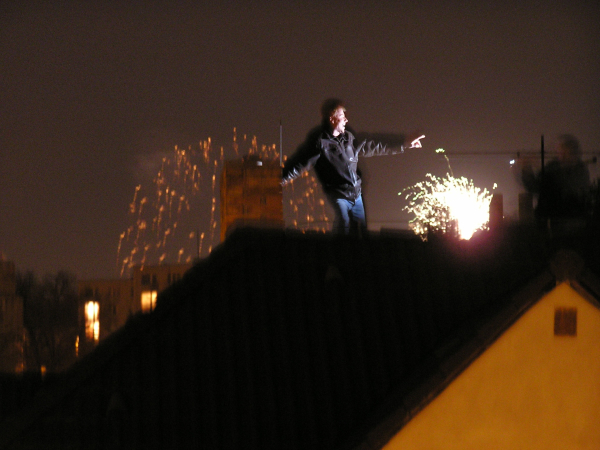 This well-oiled New Year's reveler dances on a rooftop.Prague, Czech Republic: chapter 49, You must only to love them. http://mershon.wordpress.com