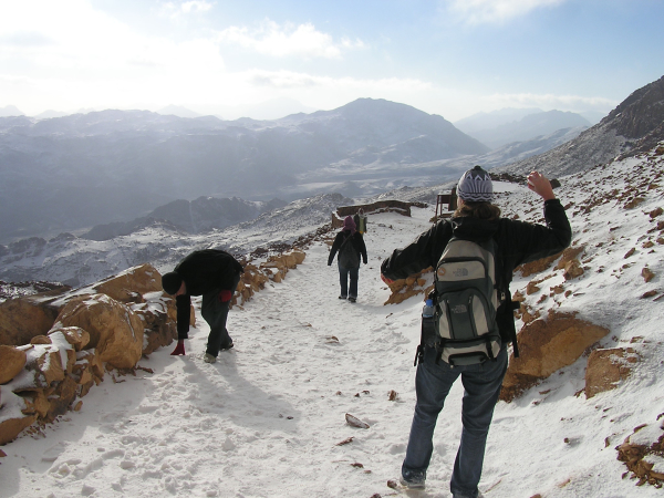 The sun emerged as we hiked back down, and snowball fights ensued.Mount Sinai, Egypt: chapter 51, You must only to love them. http://mershon.wordpress.com