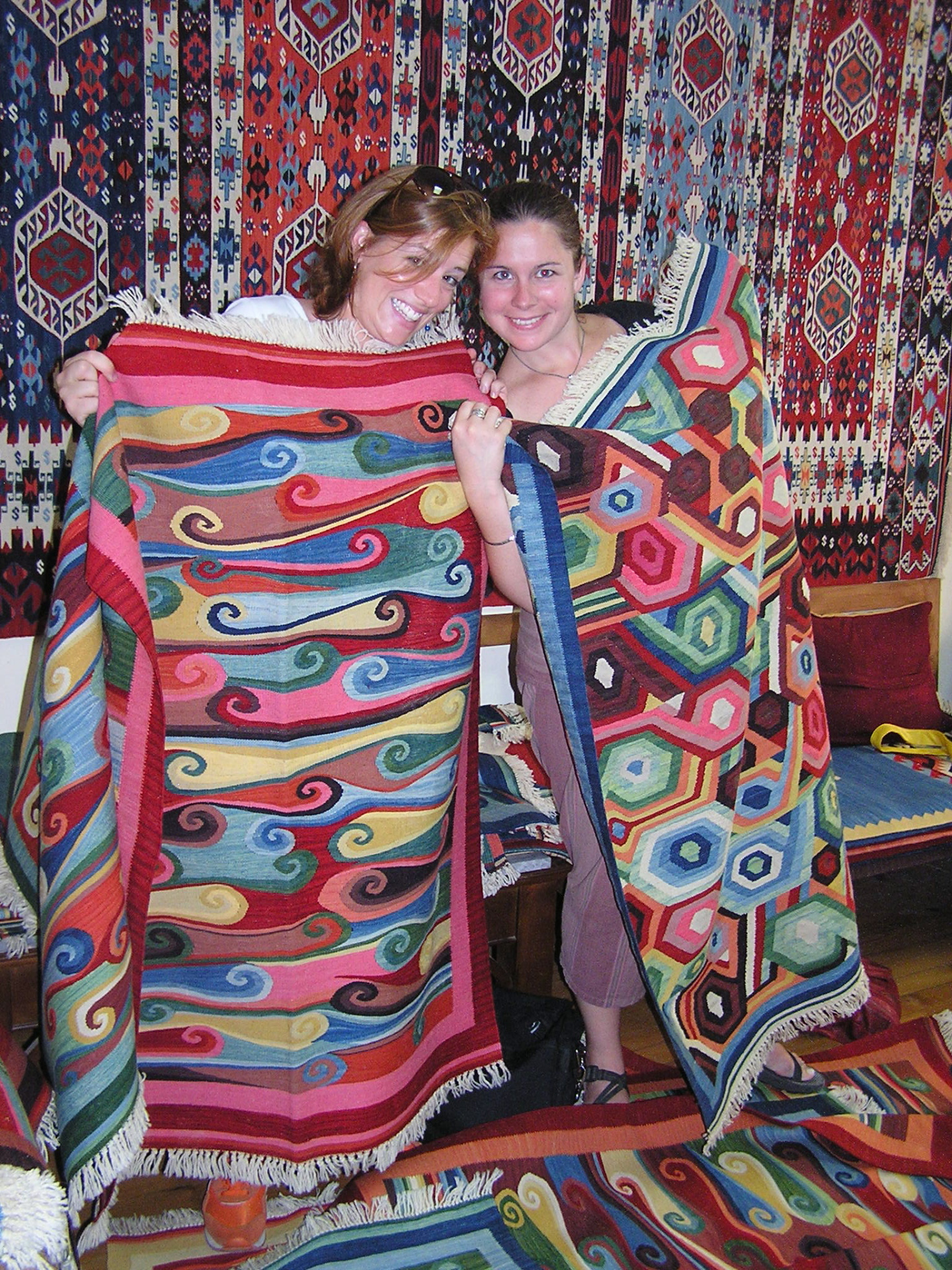 "Leslie and Mollie ""modeled"" Musa's stunning kilims. Istanbul, Turkey: chapter 53, You must only to love them. http://mershon.wordpress.com"