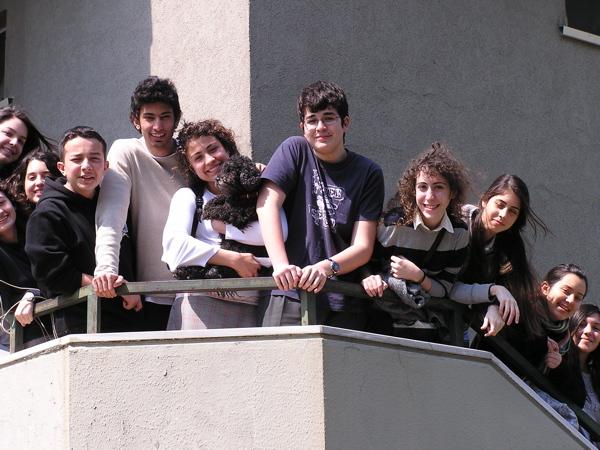 IB students Sena, Özge, Nazlı, Selim Can, Haluk,Ezgi, Libby, Deniz Han, Gözde, Zeynep, Serra, and Ayşe Su pose on my stairway. Istanbul, Turkey: chapter 54, You must only to love them. http://mershon.wordpress.com
